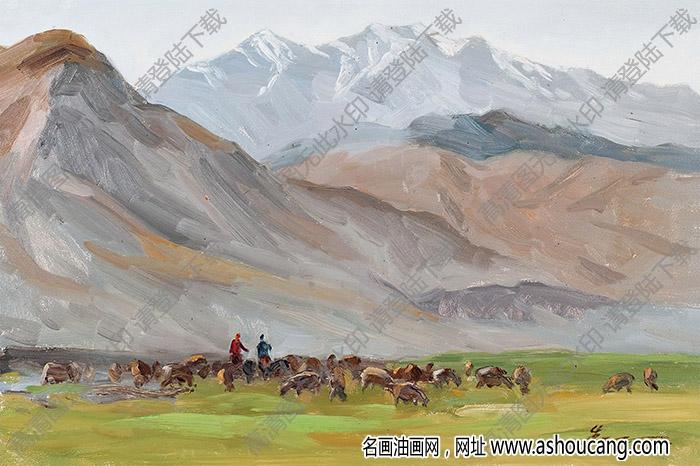 朱乃正油画 天山牧场 高清大图下载