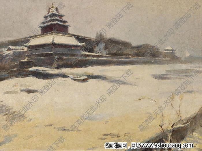 朱乃正油画 紫禁雪霁 高清大图下载