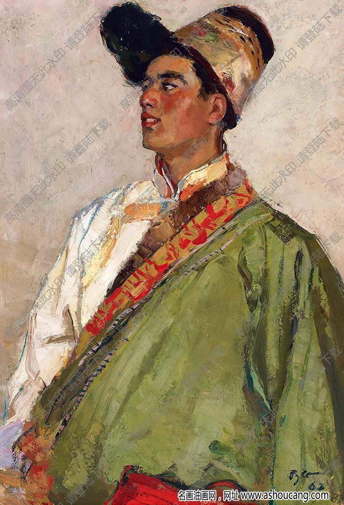 朱乃正油画作品 藏族男青年 高清下载
