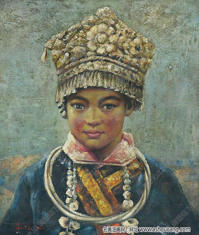 朱乃正油画作品 穿传统服饰的女子 高清下载