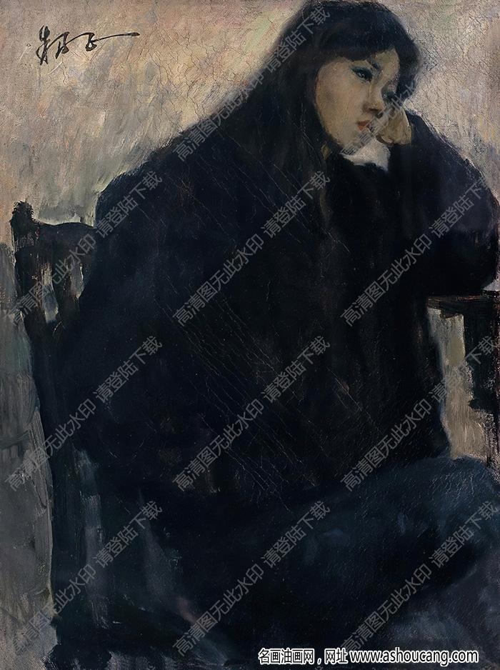 朱乃正油画作品 女青年肖像 高清下载