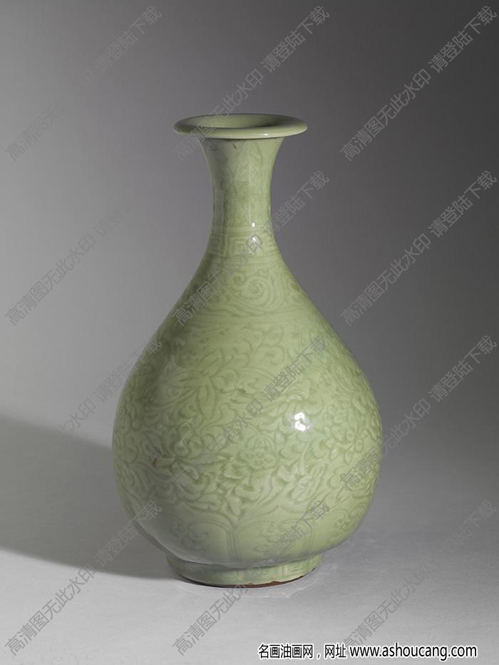 明 龙泉窑青瓷划花花卉纹玉壶春瓶 高清大图下载
