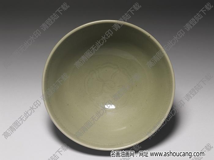明永乐-宣德 龙泉窑青瓷划花莲瓣碗 高清大图下载