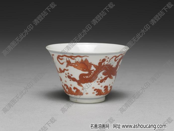 明-清 成化款白瓷红彩双龙杯 高清大图下载